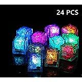 24cubitos de hielo con luces led multicolor que parpadean. Para bares, clubes, bodas, fiestas, eventos, regalos, decoración
