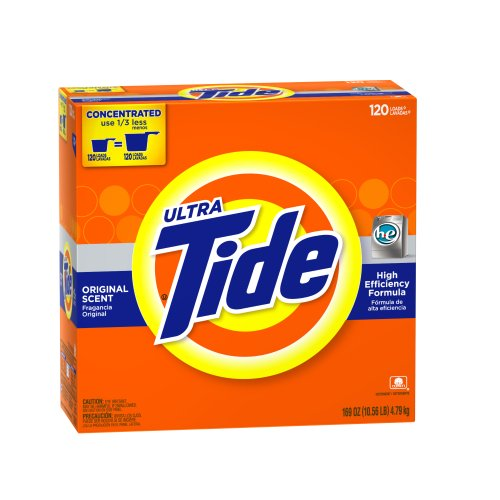 Tide Ultra High Efficiency Original Scent Powder, 120 Loads, 169-Ounce (What's The Best Laundry Detergent)