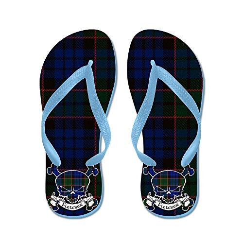 Cafepress Fletcher Tartan Skull - Flip Flops, Grappige String Sandalen, Strand Sandalen Caribbean Blue
