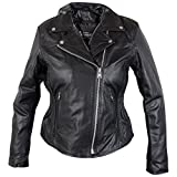 Xelement B8005 Ladies Classic Cruiser Leather Braided Motorcycle Black Jacket - Large