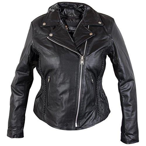 s Classic Cruiser Leather Braided Motorcycle Black Jacket - X-Large (Black Cruiser Jacket)