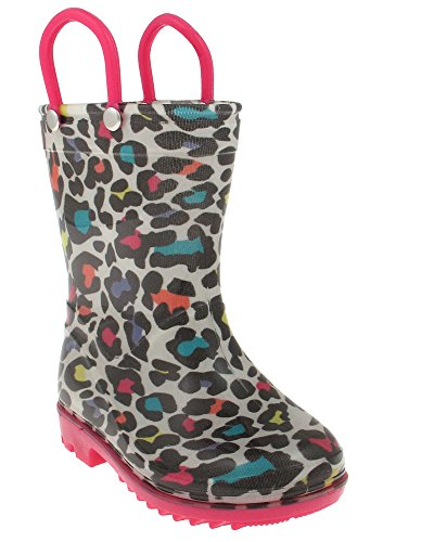 Capelli New York Shiny Leopard printed Toddler Girls Jelly Rain Boots