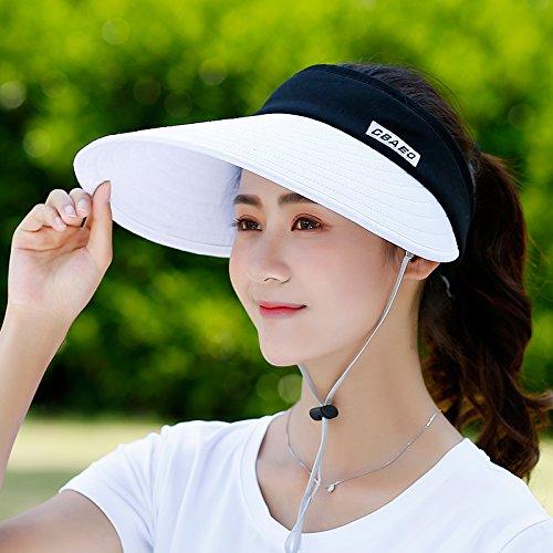 Empty top white Women's Adjustable Beach Floppy Sun Hat