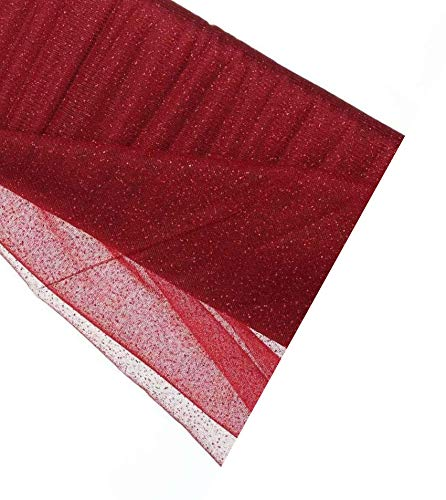 """Glitter Tulle 54"""" by 10 Yards (30 ft) Fabric Tulle Bolt for Wedding and Decoration (Burgundy)"""