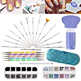 (US) Nail Art Designs Set with 2 Boxes of 1500 Gemstones / Crystals / Gems, Stampers / Scrapers, Stamping Plates, Dotting Tools, Nails Brushes and Rhinestones Decorations Picker Pencil