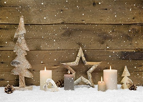 Leowefowa 7X5FT Christmas Tree Backdrop Star Candles Pine Cone Heavy Snow Rustic Stripes Wood Plank Winter Vinyl Photography Background Kids Children Adults Photo Studio (Snow Cone Stripe)