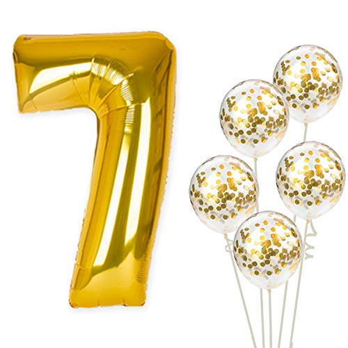 KatchOn Number 7 and Gold Confetti Balloons - Large, 40 Inch Foiil Gold Balloons | 5 Gold Confetti Balloons, 12 Inch | 7th Birthday Party Decorations | Party Supplies for Anniversary Décor