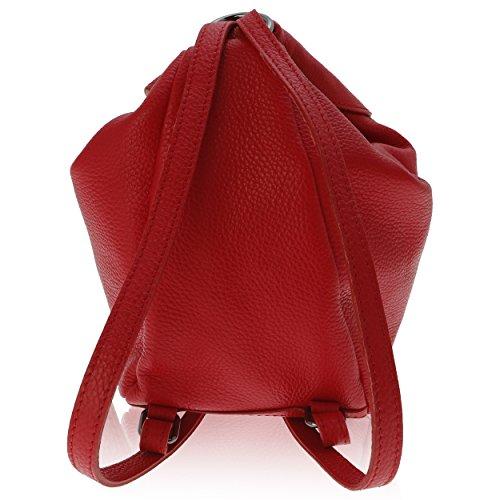 pour 20 Rouge cm Florence à 15 Cuir 25 Femme Sac Made dos Véritable in qEPOUOw