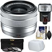 Fujifilm 15-45mm f/3.5-5.6 XC OIS Power Zoom Lens (Silver) with 3 Filters + Flash + Diffuser + Kit