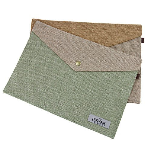 2 Pack Envelope File Holder A4 Airtificial Felt Portfolio Briefcase Bag for Archives, Resumes,Files and Papers,School Home Office Portable Document Organizer Storage Bag, Snap Closure,Green+Beige ()