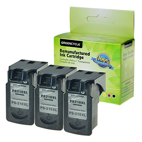 GREENCYCLE 2PK Remanufactured PG-210 210XL PG-210XL Ink Cartridge Replacement 401 Pages for PIXMA IP2700 MX420 MX340 MP280 MP495 Inkjet Printer (2PK, Black 210XL)