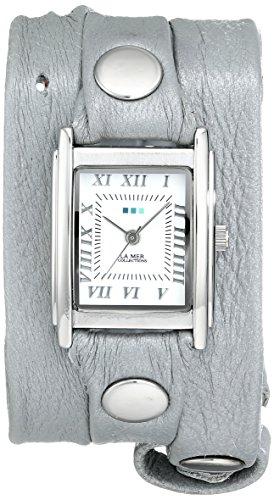 (La Mer Collections Women's LMMTW1003 Lite Gray Shimmer Silver Triple Wrap Watch)
