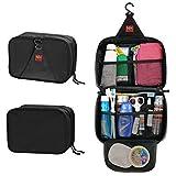 P.KU.VDSL® Hanging Toiletry Bag Travel Storage Makeup Cosmetic Bag Beauty Kit YKK Zipper Tour Case For Men or Women Hiking Handbag (Black)