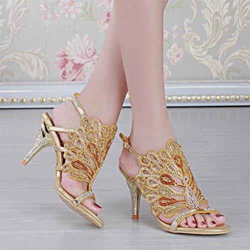 Shoes Summer Fashion Rhinestone Slippers Women's High Gold Doris Sandals Heel Glitter Dress Wedding Uwfzxqt