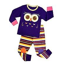 Huata Owl Little and Big Girls 2 Piece 100% Cotton Pajamas Sets Kids Pjs