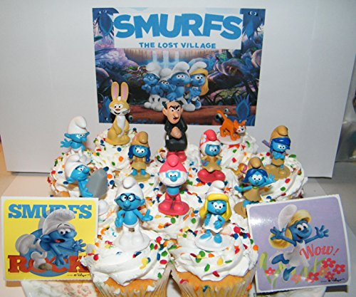Smurfs and the Lost Village Movie Deluxe Cake Toppers Cupcake Decorations Set of 14 with Figures and Stickers Featuring both Classic and New Smurf characters including Bunny Bucky! (Cake Smurf)