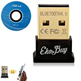 EkoBuy® Bluetooth 4.0 USB Dongle Adapter for PC with Gold Plated USB, Bluetooth Transmitter and Receiver For Windows 10 / 8.1 / 8 / 7 / Vista - Plug and Play for Win 7 and abo