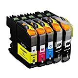 RIGHTINK Compatible Ink Cartridges for Brother LC203XL (2 Black 1 Yellow 1 Magenta 1Cyan) Suitable for Printers MFC-J4320DW MFC-J4420DW