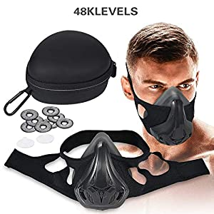 nobrand 48 Levels Adjustable Oxygen simulate high Altitude Breathe Resistance Training Sports mask with Filter Cotton Sheet