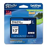 Brother P-Touch PT-1280 Label Tape (OEM) 0.47' Black Print on White