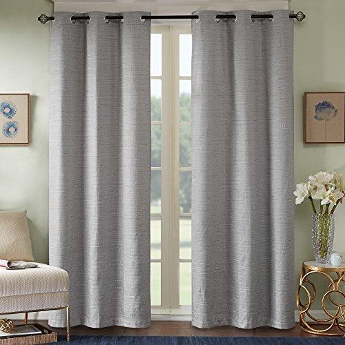 Comfort Spaces - Grasscloth Window Curtain Pair/Set of 2 Panels - Dark Gray - 40x84 inch Panel - Foamback - Energy Efficient Saving- Grommet Top - 2 Pieces