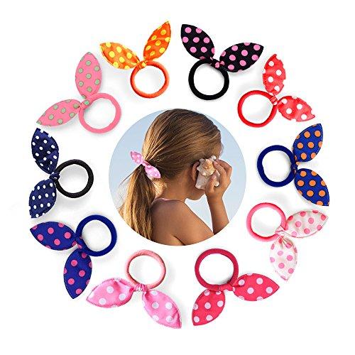 Himipopo 30 PCS Cute Girls Hair Tie Rabbit Ear Hair Ponytail Holder Terry Elastic Hair Band for Girl Women Baby Teen Kid Toddler Multi Color
