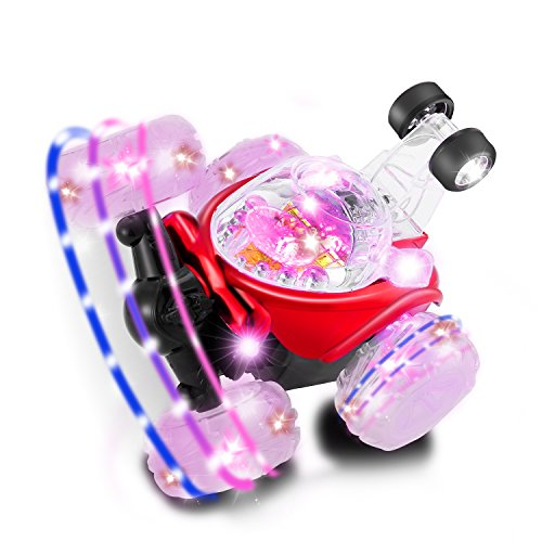 Leshp Rc Rolling Stunt Car Invincible Tornado Twister Remote Control Truck 360 Degree Spinning And Flips With Color Flash   Music For Kids