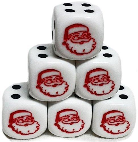 カスタム& Unique {標準Medium 16mm } 6ctパックのセット6Sided [ d6]正方形キューブ形状再生&ゲームサイコロW /丸いコーナーエッジW /クリスマスHappy Santa Faceアウトラインデザイン[ホワイト&レッド]の商品画像