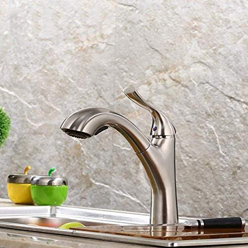1yess Waschbecken Wasserhahn mit ausziehbaren Sprayer, Einhand-Waschtischmischer Tap for warmes und kaltes Wasser, Pull-Down-Behälter-Wannen-Hahn mit Rotating Auslauf, Messing