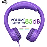 Kids Headphones, Toxi Wired On-ear 85dB Volume Limited Over Ear Children Friendly Safe Headphones with Microphone 3.5mm Audio Jack for Toddler Boys Girls iPad iPhone School Kindle Tablet - Purple