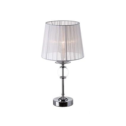 Lámpara de mesita de Noche Blanca de Metal Moderna para ...