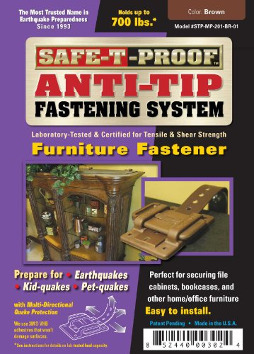 - Safe-T-Proof Anti-Tip Fastening System Furniture Fastener, Brown