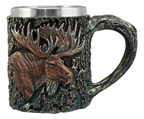 Ebros The Emperor Bull Moose Mug Textured With Rustic Tree Bark Design In Painted Bronze Finish 12oz Drink Beer Stein Tankard Coffee Cup