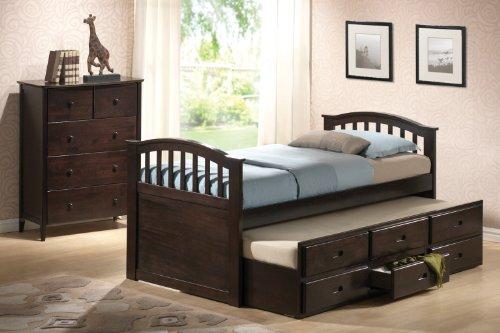 Acme Furniture Full Bedroom Bed Dark Walnut Finish Trundle Drawers Kids Furniture