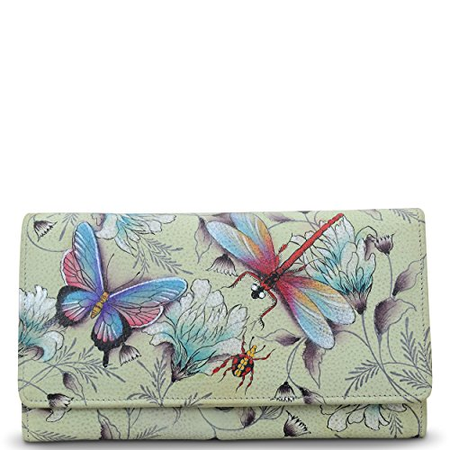 Anuschka Women's Genuine Leather Wallet | Accordion Flap | Hand Painted Original Artwork | Wondrous Wings