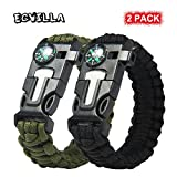 ECVILLA Multifunctional Paracord Bracelet, Survival Bracelet with Compass, Fire Starter, Emergency Knife, Whistle for Hiking Camping