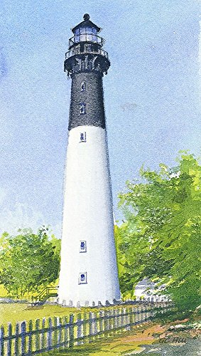 Hunting Island Lighthouse South Carolina Matted Watercolor Art Prints -