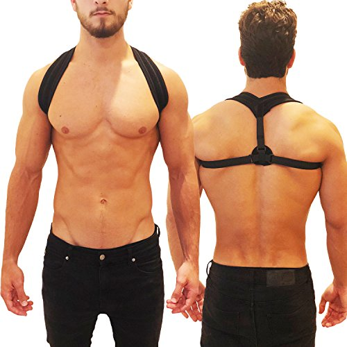 Posture Corrector Upper Back Brace - Adjustable Support for 28 to 48 Inch Chests, Men and Women - Easy Fit,...