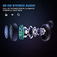 Wireless Earbuds Bluetooth 5.0 Headphones - Latest True Bluetooth Earbuds Sports Earphones, HiFi 3D Stereo Sound with 16H Playtime, Physical Noise Reduction, Portable Charging Case and Built-in Mic by LinkWitz