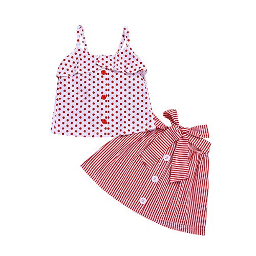 (Toddler Baby Girl Floral Halter Ruffled Outfits Set Strap Crop Tops+Short Pants 2 PCS Clothes Set (Red, 2-3 Years))