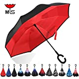 Double Layer Inverted Umbrella Windproof UV Protection Reverse folding Cars Reversible Umbrella by MY'S (Great Red)
