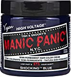 Manic Panic Shocking Blue Color Cream – Classic High Voltage - Semi-Permanent Hair Dye - Vivid, Blue Shade - For Dark, Light Hair – Vegan, PPD & Ammonia-Free - Ready-to-Use, No-Mix Coloring