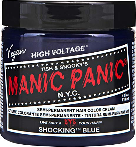 Manic Panic Shocking Blue Color Cream - Classic High Voltage - Semi-Permanent Hair Dye - Vivid, Blue Shade - For Dark, Light Hair - Vegan, PPD & Ammonia-Free - Ready-to-Use, No-Mix Coloring
