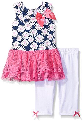 Little Lass Little Girls' 2 Piece Skimmer Set Daisy Fishnet, Neon Pink, 6X