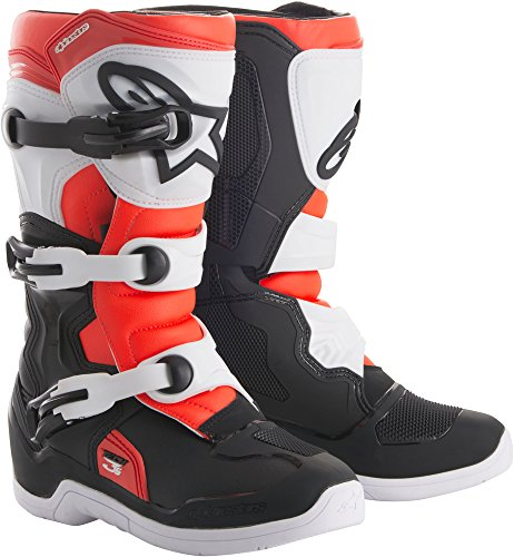 Alpinestars Tech 3S Youth Motocross Off-Road Motorcycle Boots, Black/White/Red, Size Youth -