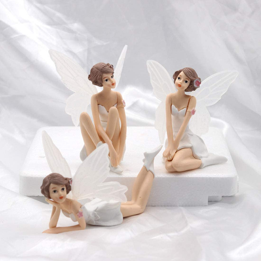 Vitorhytech DIY Miniature Blanc Cadeaux De Bande Dessin/ée Battant Fleur F/ée Jardin Ange Fleur Ornements D/écoration de La Maison