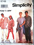 Simplicity Sewing Pattern 8749 Misses and Mens Baseball Shirts, Pull-on Pants or Shorts & Cap, Size BB (Chest/Bust 42 - 48)