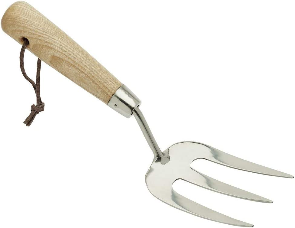 Draper Heritage 99025 Stainless Steel Hand Weeding Fork with Ash Handle Brown