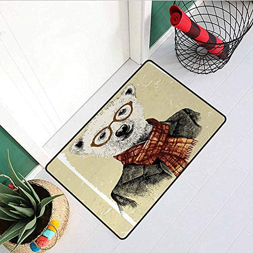 - Gloria Johnson Animal Inlet Outdoor Door mat Hipster Bear with Glasses Scarf Jacket Wild Mammal Humorous Artwork Catch dust Snow and mud W15.7 x L23.6 Inch Cream Dark Orange Black