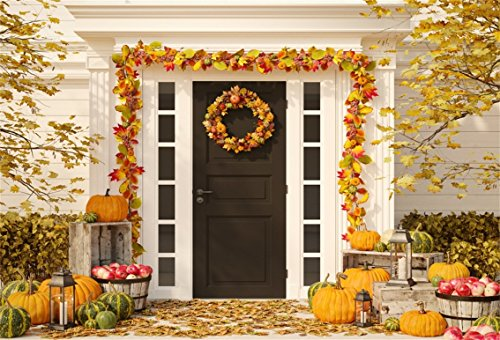 CSFOTO 6x4ft Background for Autumn Decorated House with Pumpkins and Hay Photography Backdrop Thanksgiving Day Party Decoration Halloween Garland House Photo Studio Props Polyester -
